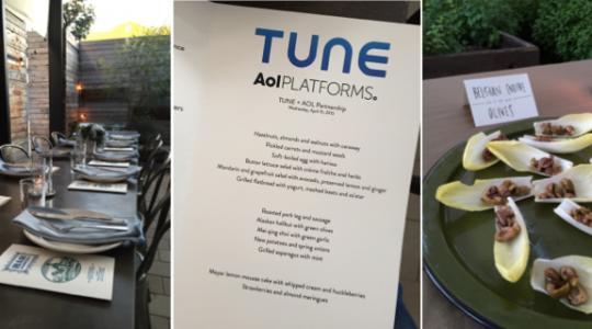 TUNE and AOL Partnership Announcement Dinner