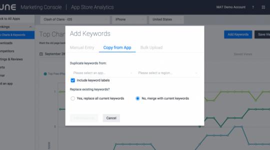 App Store Analytics' Ranking Page Now Allows Bulk Uploads of Keywords
