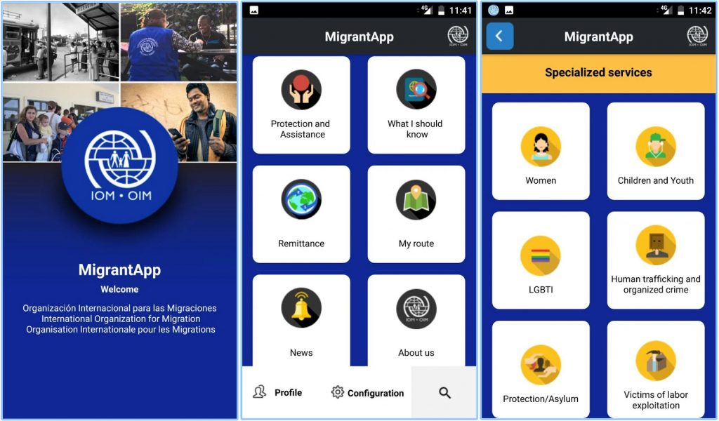 Screenshots from MigApp, the mobile app for migrants.