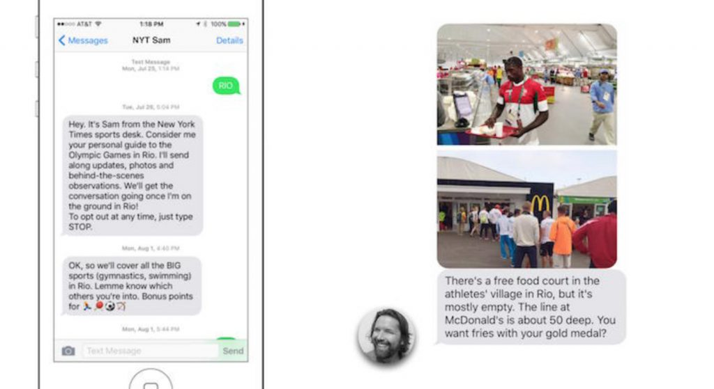 The New York Times chatbot messaged users about the behind-the-scenes happenings at the Rio Olympic Games.