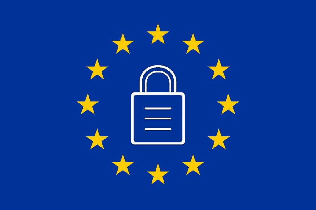 An image of the European Union flag design with a lock in the middle, representing GDPR.
