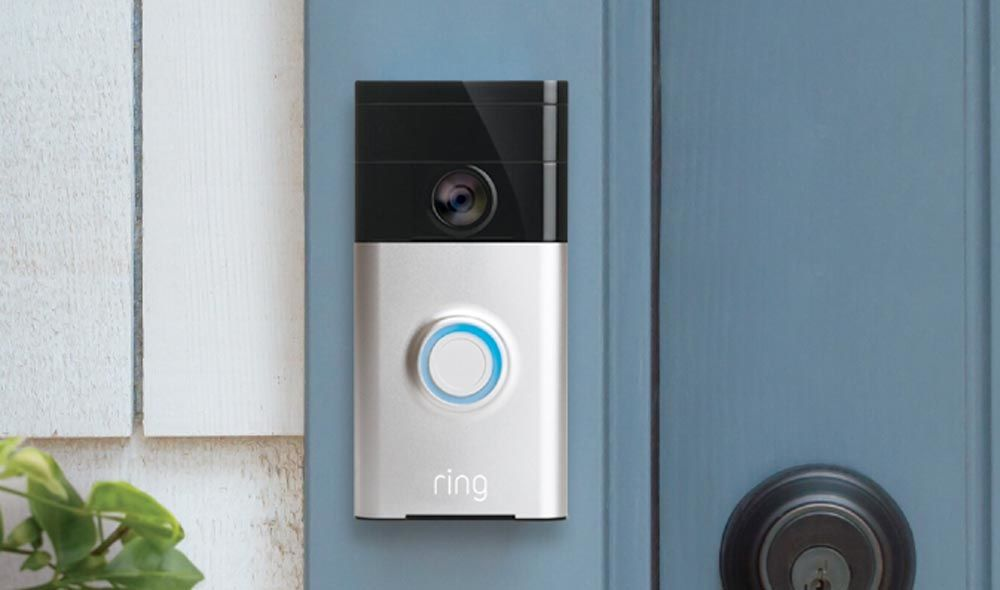 A ring video doorbell.