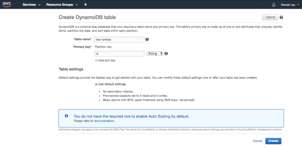 Creating a Dynamo database table in AWS Lambda.