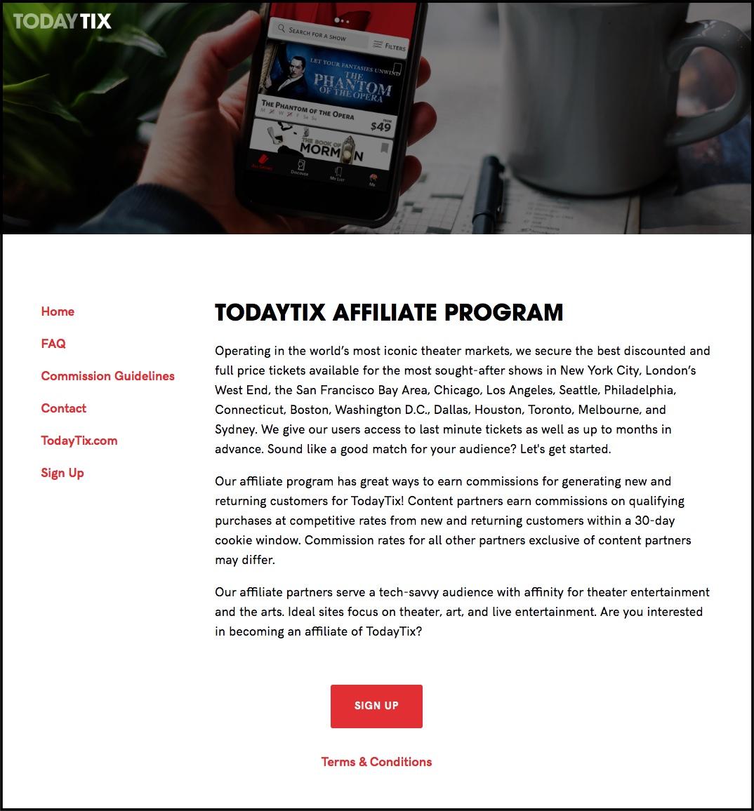 Screenshot of TodayTix affiliate program home page